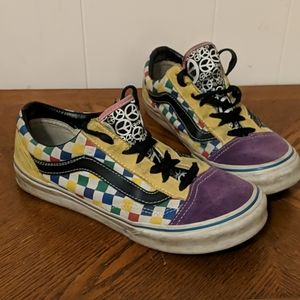 Vans custom design leather & primary color check